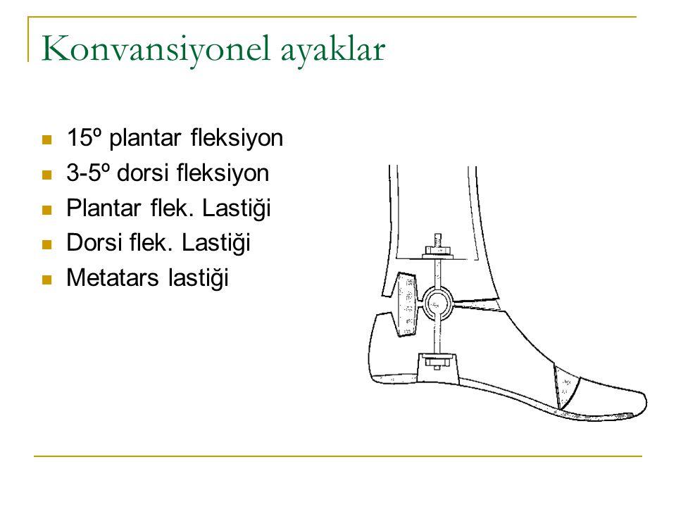 Konvansiyonel ayaklar 15º plantar fleksiyon 3-5º dorsi fleksiyon Plantar flek. Lastiği Dorsi flek. Lastiği Metatars lastiği