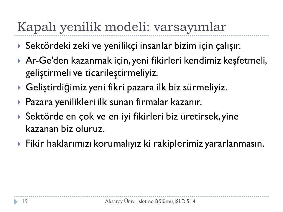 Kapalı yenilik modeli: varsayımlar Aksaray Üniv., İ şletme Bölümü, ISLD 51419  Sektördeki zeki ve yenilikçi insanlar bizim için çalışır.  Ar-Ge'den