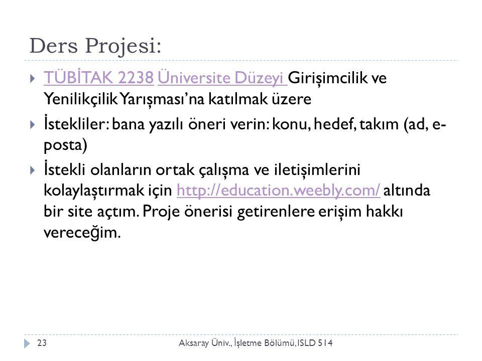 Ders Projesi: Aksaray Üniv., İ şletme Bölümü, ISLD 51423  TÜB İ TAK 2238 Üniversite Düzeyi Girişimcilik ve Yenilikçilik Yarışması'na katılmak üzere T