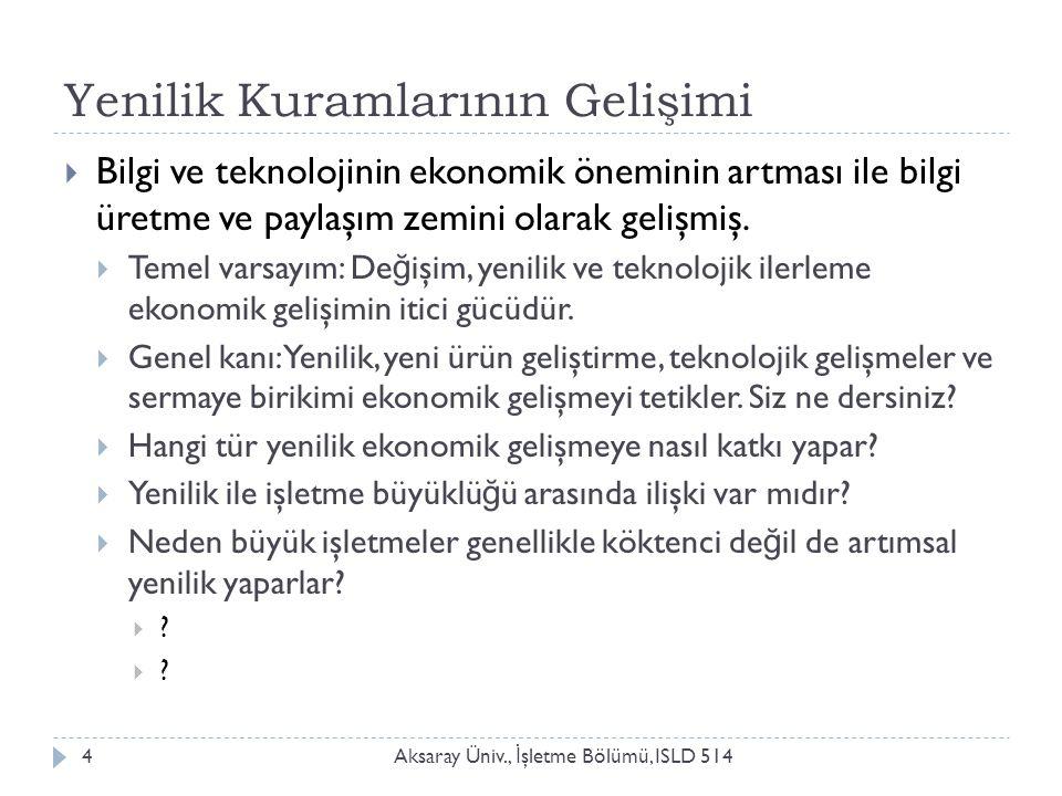 Yenilik Kuramlarının Gelişimi Aksaray Üniv., İ şletme Bölümü, ISLD 5144  Bilgi ve teknolojinin ekonomik öneminin artması ile bilgi üretme ve paylaşım