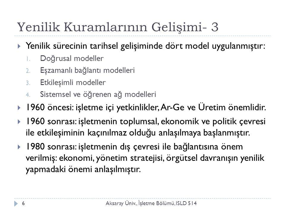 Yenilik Kuramlarının Gelişimi- 3 Aksaray Üniv., İ şletme Bölümü, ISLD 5146  Yenilik sürecinin tarihsel gelişiminde dört model uygulanmıştır: 1. Do ğ