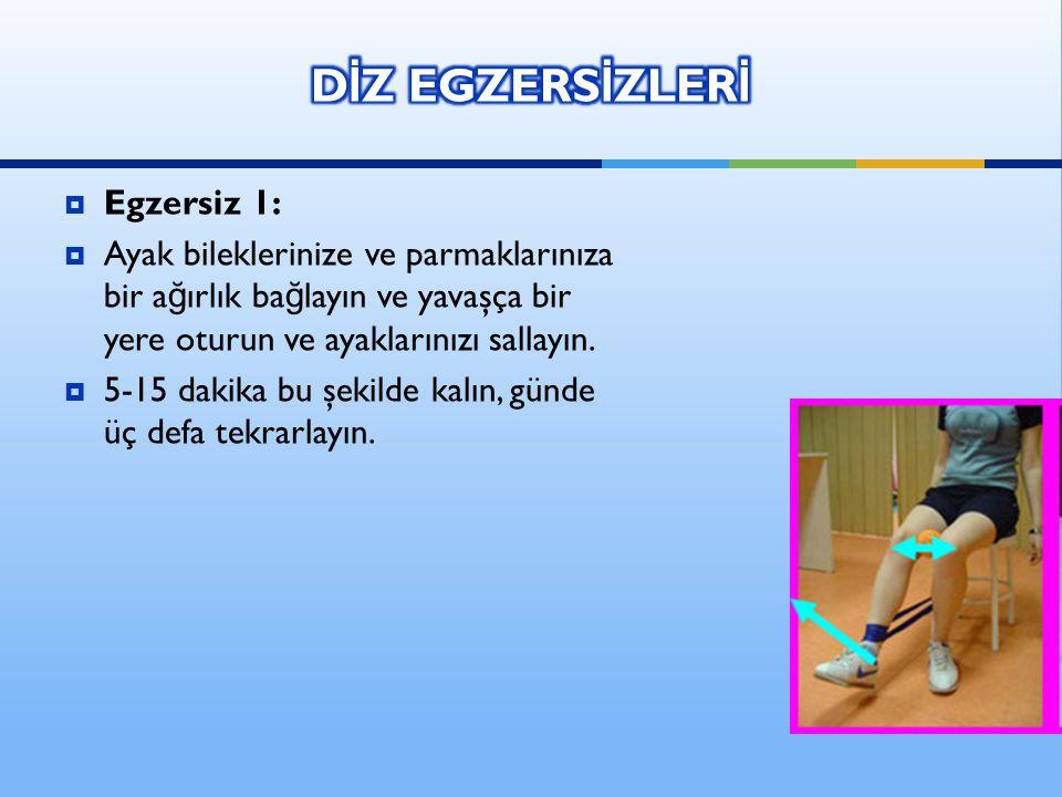  Egzersiz 1:  Ayak bileklerinize ve parmaklarınıza bir a ğ ırlık ba ğ layın ve yavaşça bir yere oturun ve ayaklarınızı sallayın.  5-15 dakika bu şe