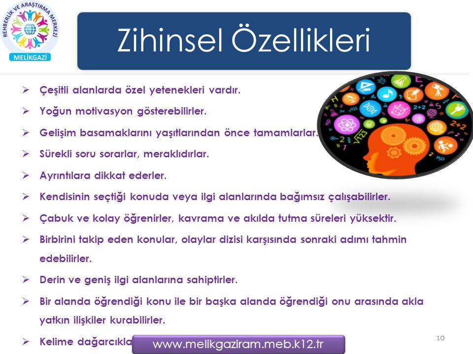 Zihinsel Özellikleri  Çeşitli alanlarda özel yetenekleri vardır.