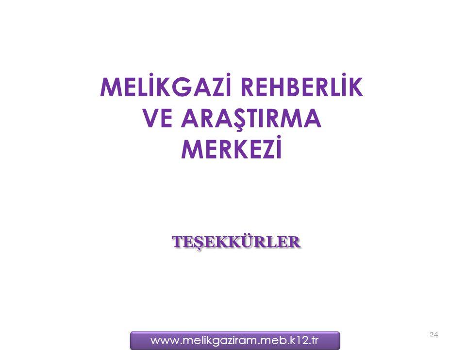 TEŞEKKÜRLER 24 MELİKGAZİ REHBERLİK VE ARAŞTIRMA MERKEZİ www.melikgaziram.meb.k12.tr