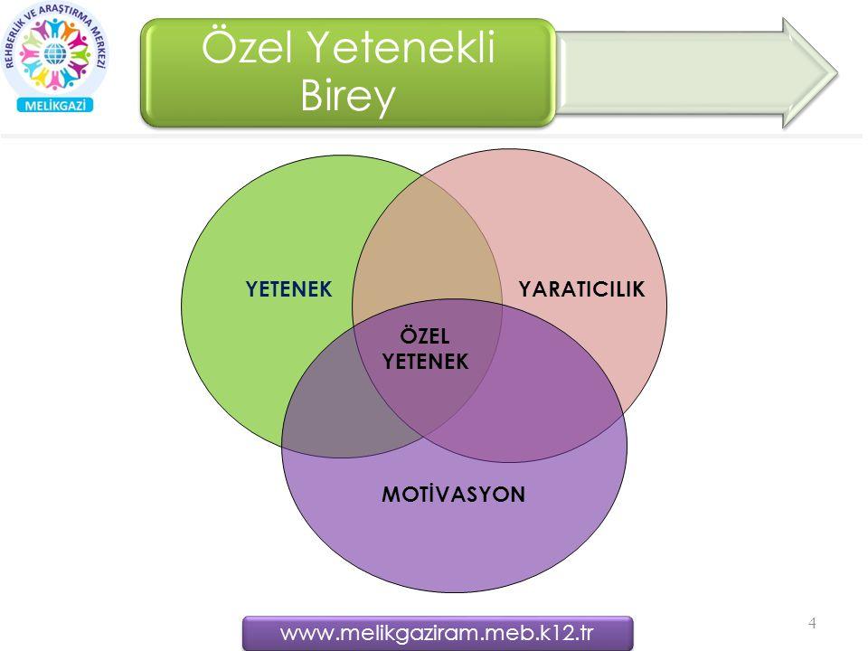 Özel Yetenekli Birey 4 YETENEKYARATICILIK MOTİVASYON ÖZEL YETENEK www.melikgaziram.meb.k12.tr