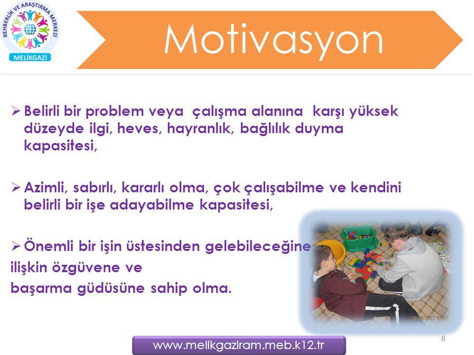 Motivasyon  Belirli bir problem veya çalışma alanına karşı yüksek düzeyde ilgi, heves, hayranlık, bağlılık duyma kapasitesi,  Azimli, sabırlı, karar