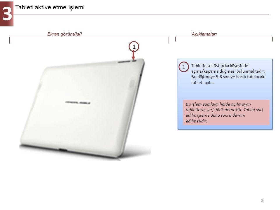 3 2 Tabletin sol üst arka köşesinde açma/kapama düğmesi bulunmaktadır. Bu düğmeye 5-6 saniye basılı tutularak tablet açılır. 1 Ekran görüntüsüAçıklama
