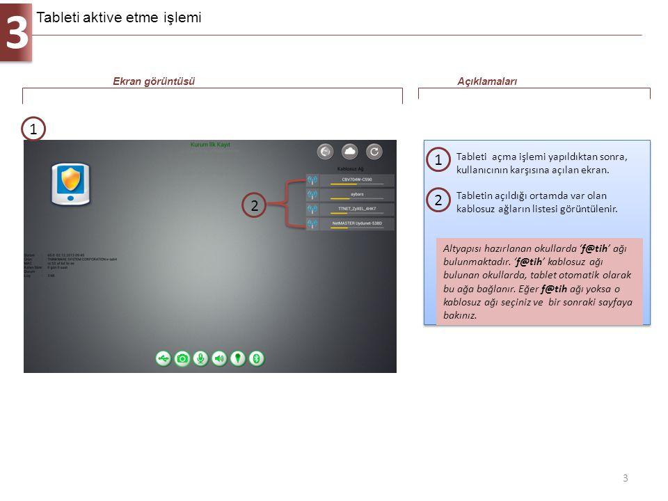 3 3 Tableti açma işlemi yapıldıktan sonra, kullanıcının karşısına açılan ekran. 1 Ekran görüntüsüAçıklamaları 1 Altyapısı hazırlanan okullarda 'f@tih'