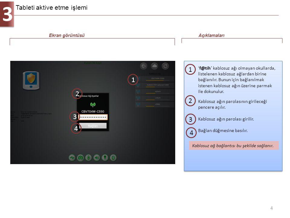 3 5 Tabletin internet bağlantısı yapıldıktan sonra aktivasyon ekranı gelir.