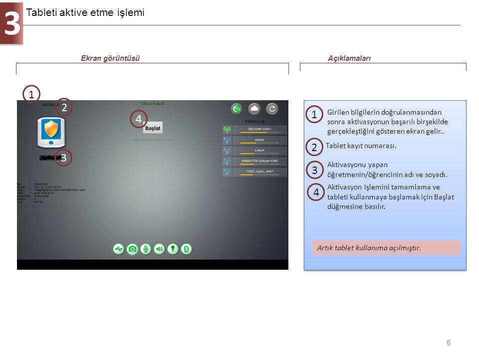 3 6 Girilen bilgilerin doğrulanmasından sonra aktivasyonun başarılı birşekilde gerçekleştiğini gösteren ekran gelir.. 1 Ekran görüntüsüAçıklamaları 1
