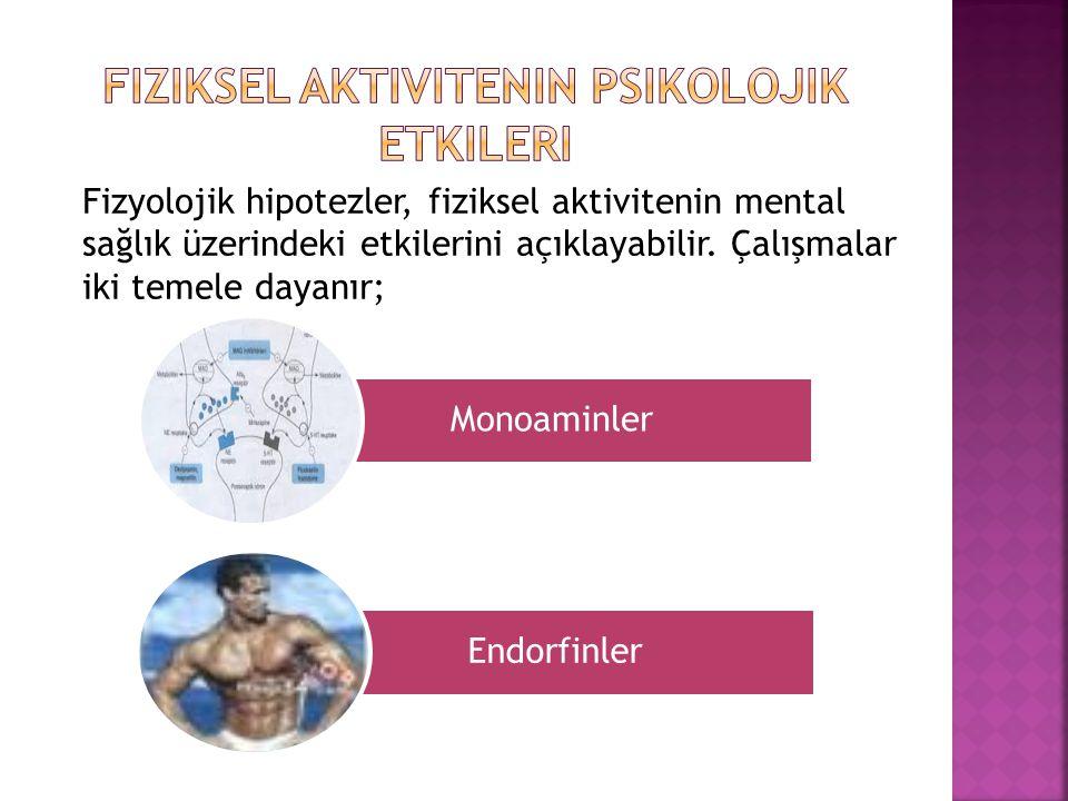 Monoaminler Endorfinler Fizyolojik hipotezler, fiziksel aktivitenin mental sağlık üzerindeki etkilerini açıklayabilir. Çalışmalar iki temele dayanır;
