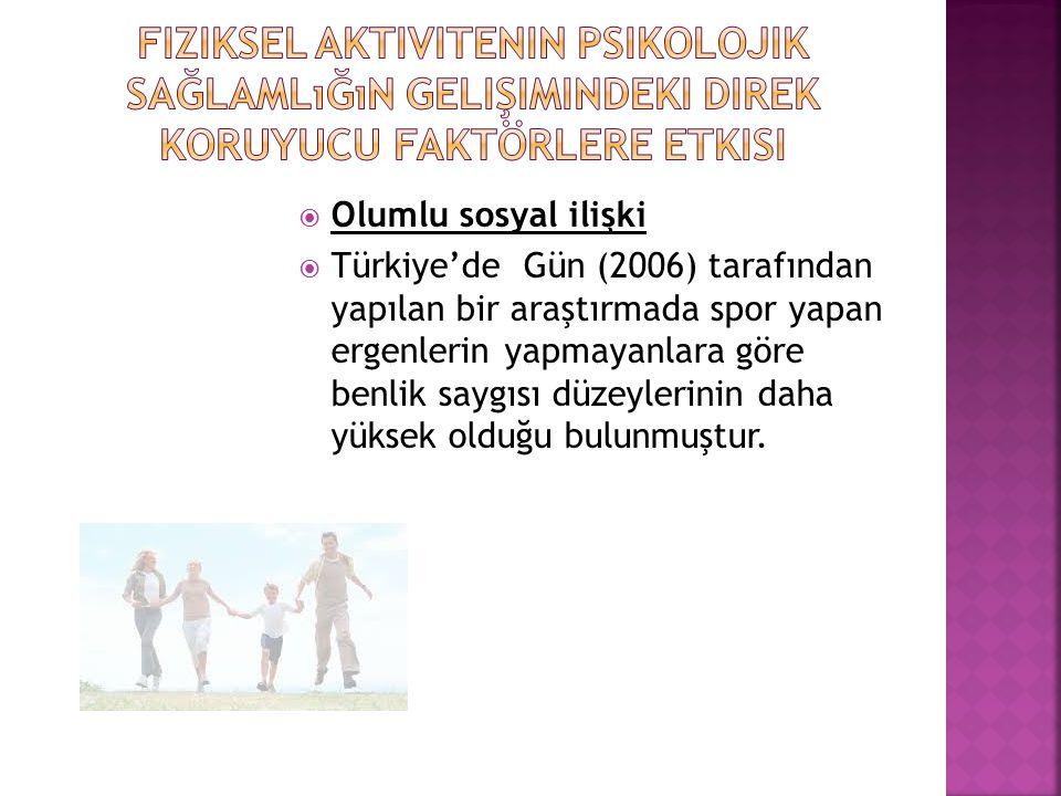  Olumlu sosyal ilişki  Türkiye'de Gün (2006) tarafından yapılan bir araştırmada spor yapan ergenlerin yapmayanlara göre benlik saygısı düzeylerinin