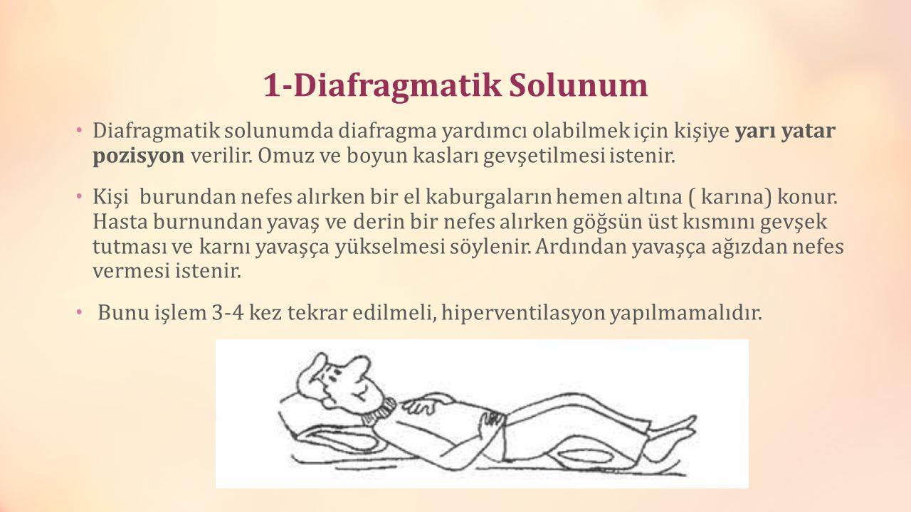 1-Diafragmatik Solunum Diafragmatik solunumda diafragma yardımcı olabilmek için kişiye yarı yatar pozisyon verilir. Omuz ve boyun kasları gevşetilmesi