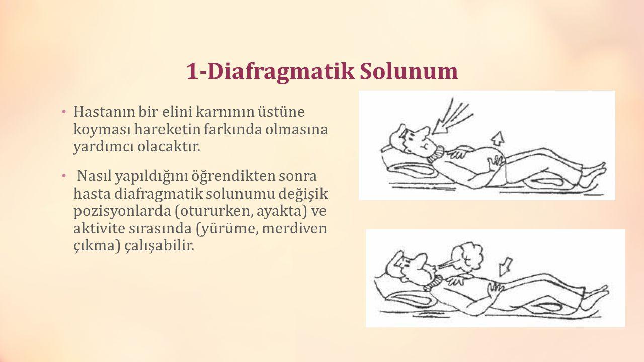 1-Diafragmatik Solunum Hastanın bir elini karnının üstüne koyması hareketin farkında olmasına yardımcı olacaktır. Nasıl yapıldığını öğrendikten sonra