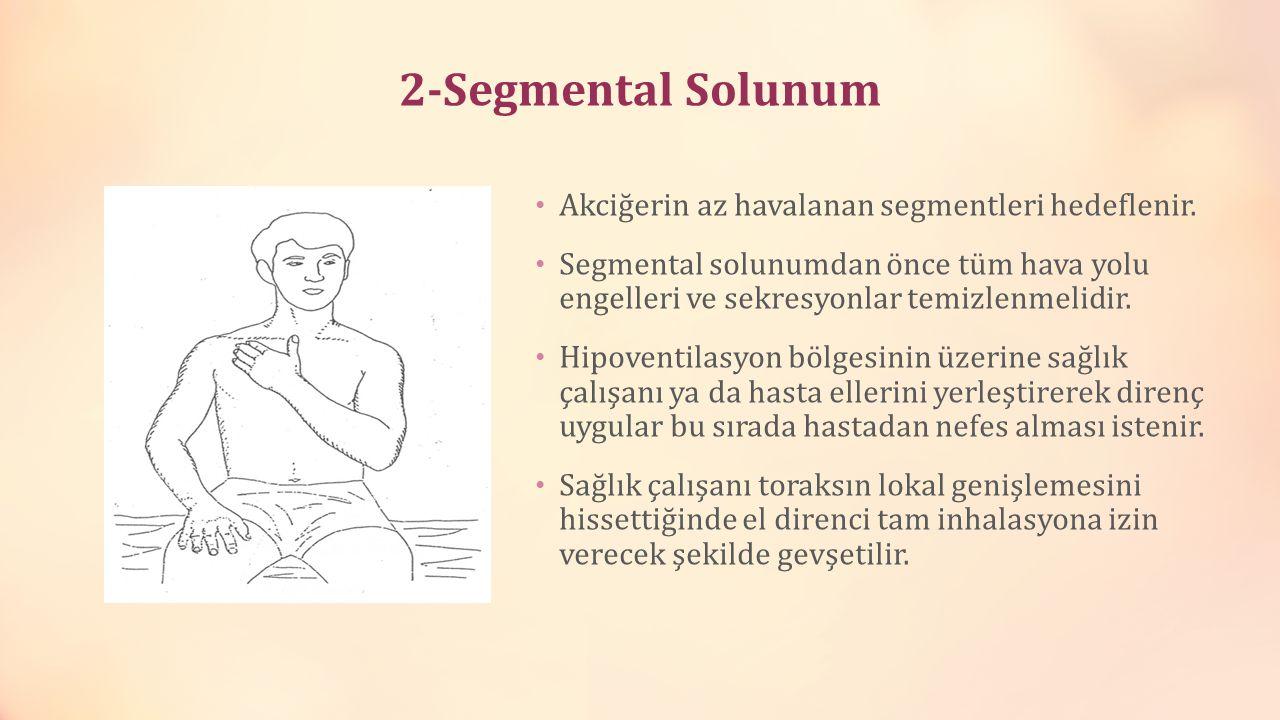 2-Segmental Solunum Akciğerin az havalanan segmentleri hedeflenir. Segmental solunumdan önce tüm hava yolu engelleri ve sekresyonlar temizlenmelidir.