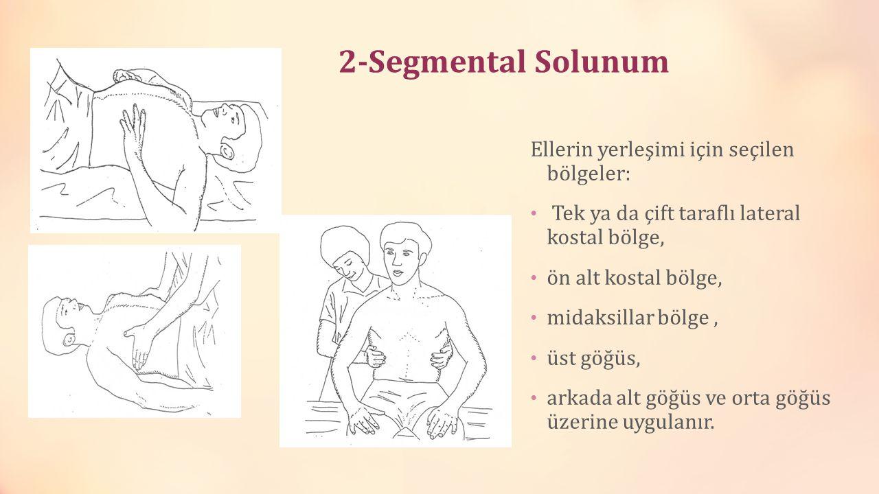 2-Segmental Solunum Ellerin yerleşimi için seçilen bölgeler: Tek ya da çift taraflı lateral kostal bölge, ön alt kostal bölge, midaksillar bölge, üst