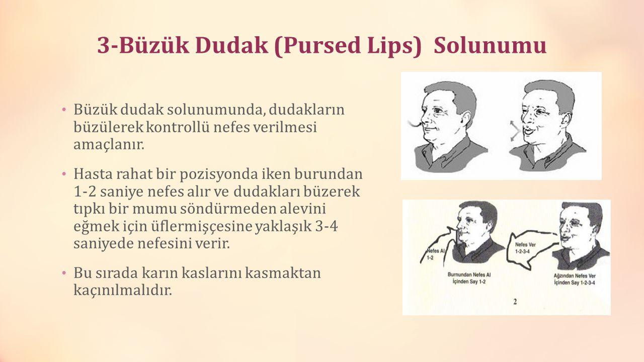 3-Büzük Dudak (Pursed Lips) Solunumu Büzük dudak solunumunda, dudakların büzülerek kontrollü nefes verilmesi amaçlanır. Hasta rahat bir pozisyonda ike