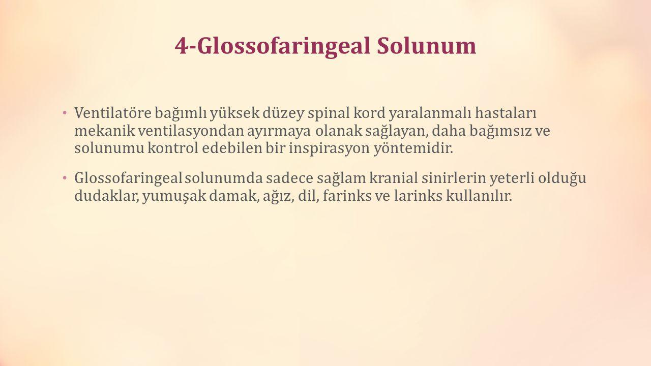 4-Glossofaringeal Solunum Ventilatöre bağımlı yüksek düzey spinal kord yaralanmalı hastaları mekanik ventilasyondan ayırmaya olanak sağlayan, daha bağ