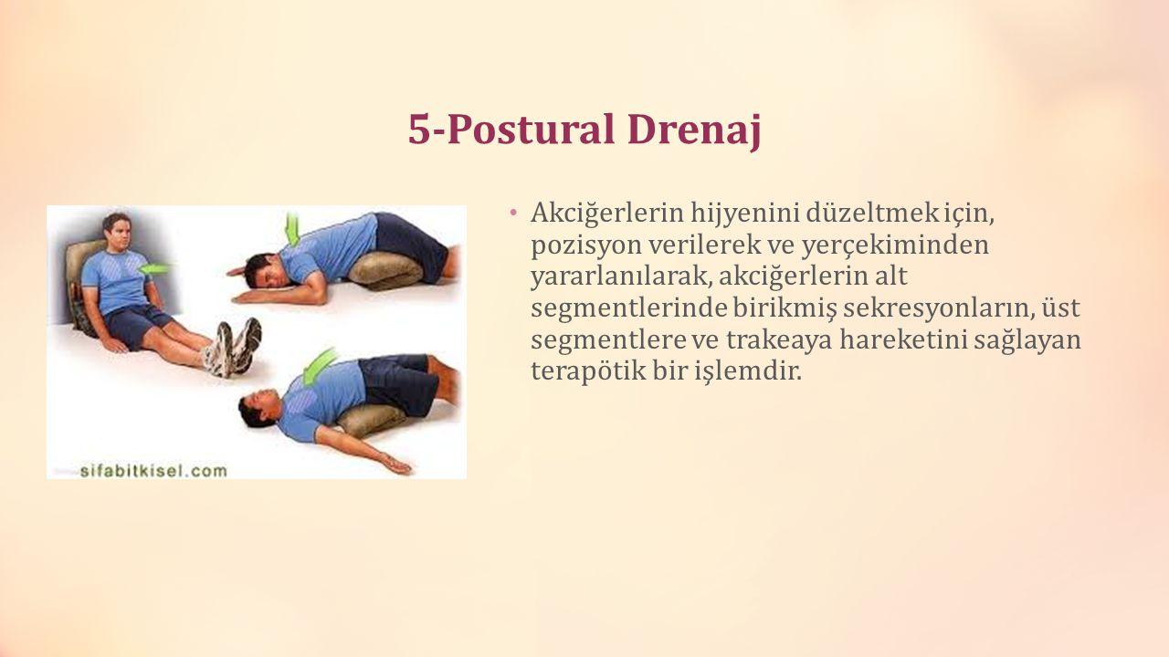 5-Postural Drenaj Akciğerlerin hijyenini düzeltmek için, pozisyon verilerek ve yerçekiminden yararlanılarak, akciğerlerin alt segmentlerinde birikmiş