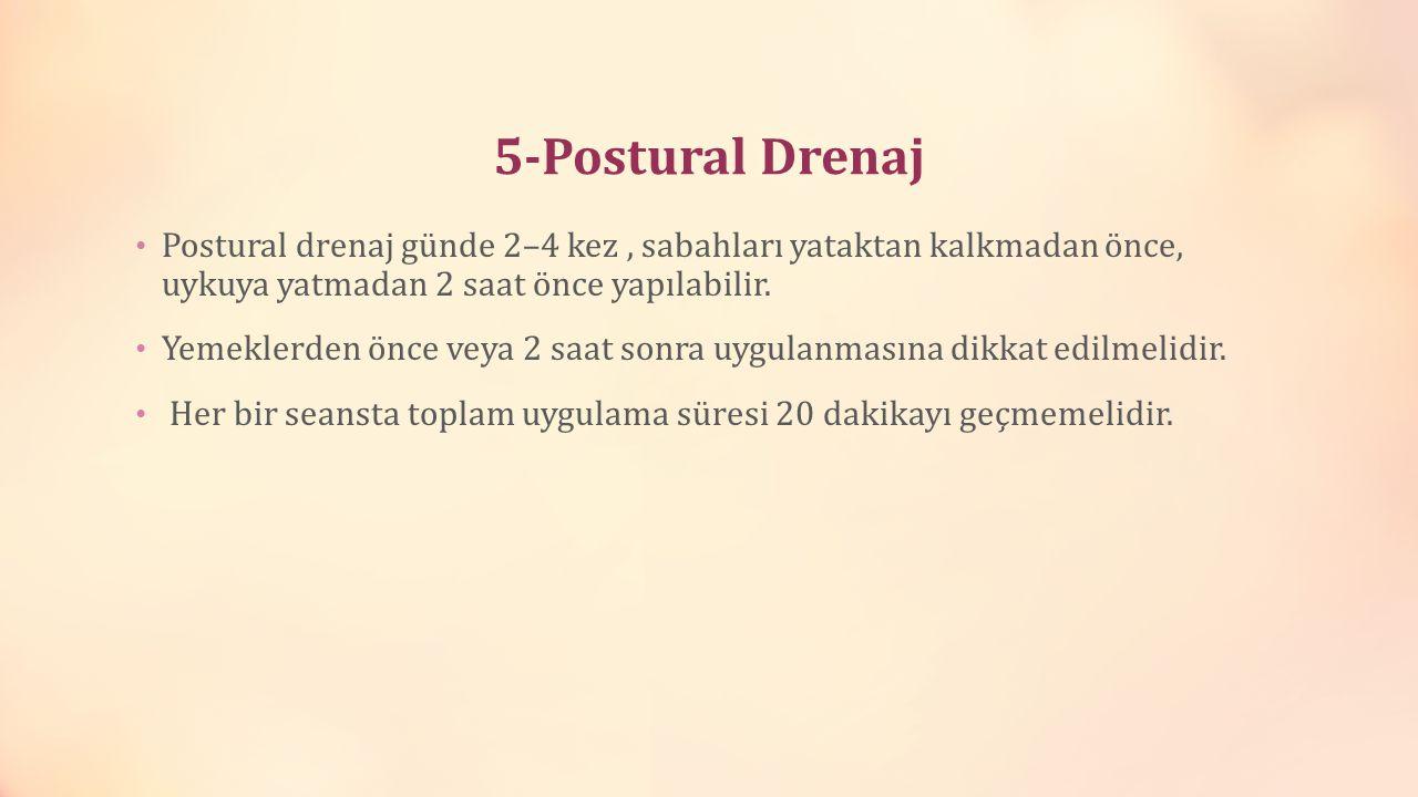 5-Postural Drenaj Postural drenaj günde 2–4 kez, sabahları yataktan kalkmadan önce, uykuya yatmadan 2 saat önce yapılabilir. Yemeklerden önce veya 2 s