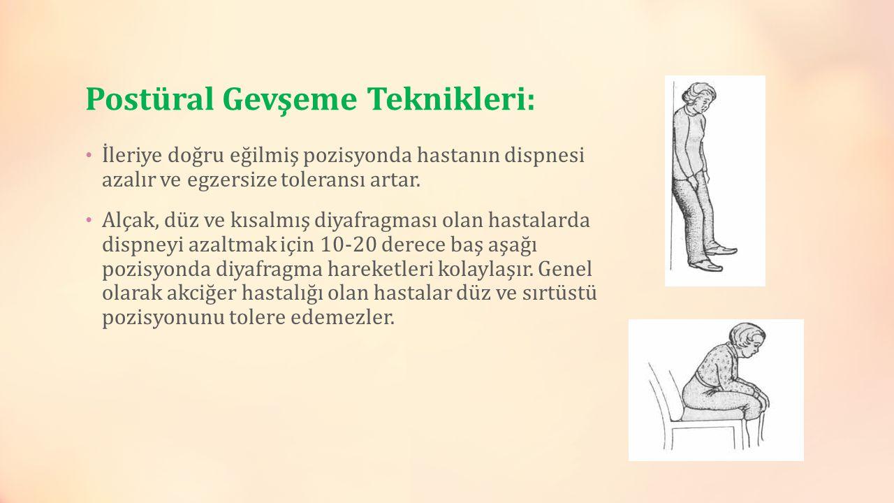 Postüral Gevşeme Teknikleri: İleriye doğru eğilmiş pozisyonda hastanın dispnesi azalır ve egzersize toleransı artar. Alçak, düz ve kısalmış diyafragma