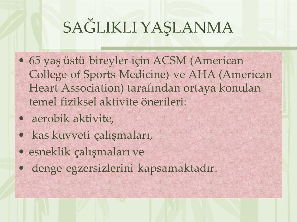 SAĞLIKLI YAŞLANMA 65 yaş üstü bireyler için ACSM (American College of Sports Medicine) ve AHA (American Heart Association) tarafından ortaya konulan t