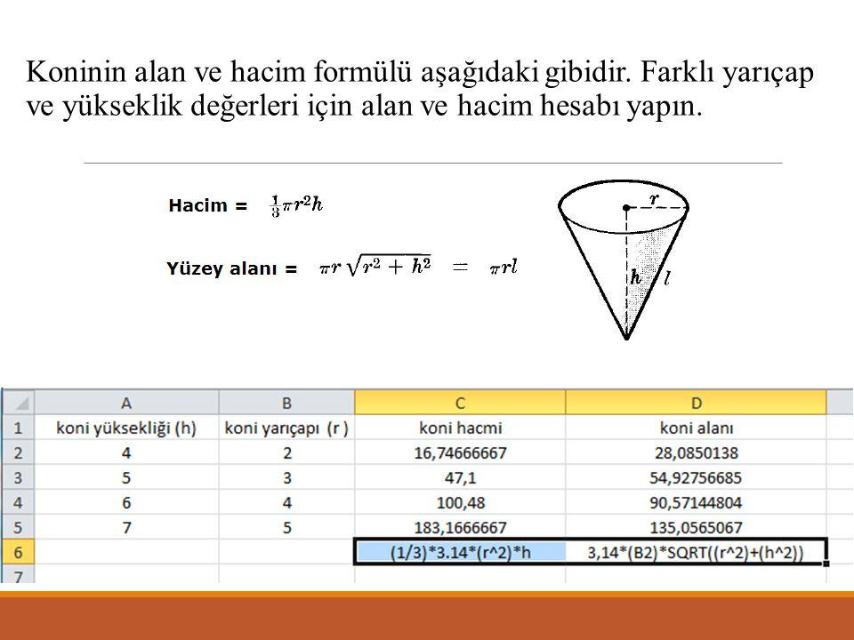 Koninin alan ve hacim formülü aşağıdaki gibidir.