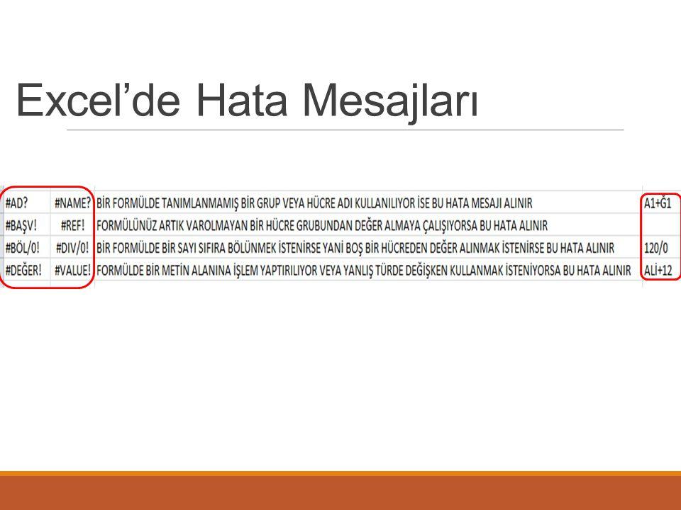 Excel'de Hata Mesajları