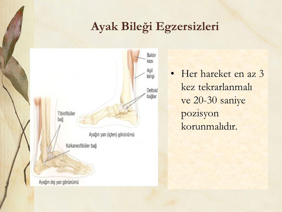 Ayak Bileği Egzersizleri Her hareket en az 3 kez tekrarlanmalı ve 20-30 saniye pozisyon korunmalıdır.