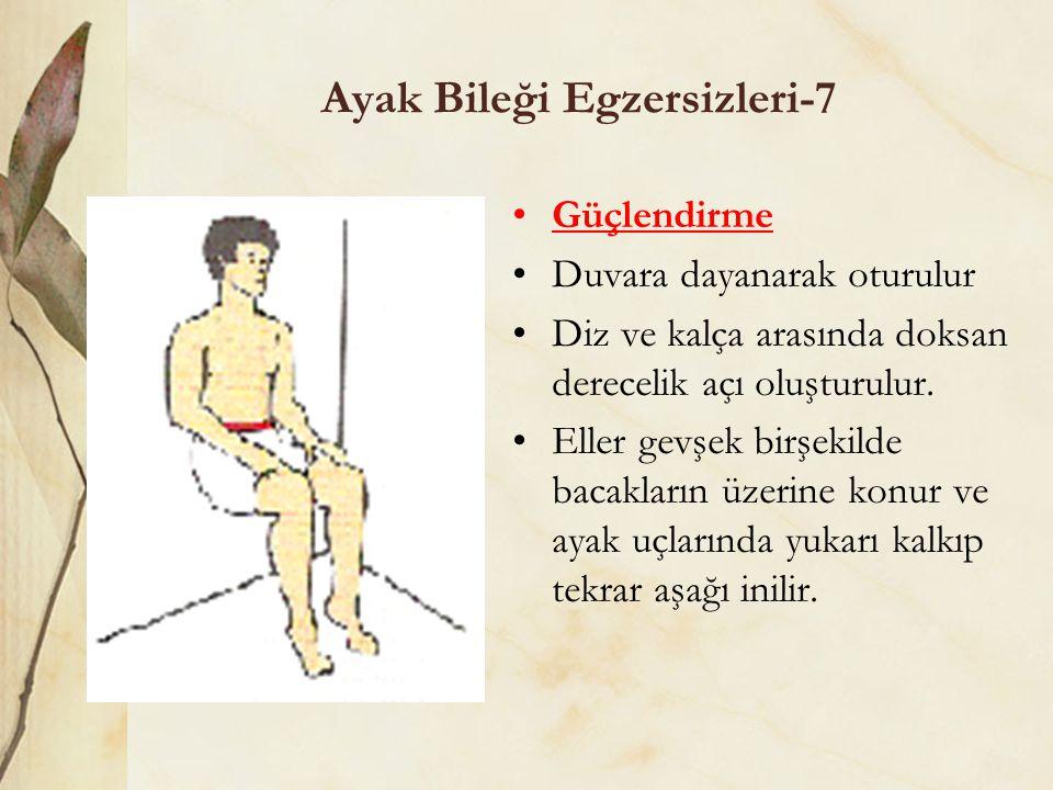 Ayak Bileği Egzersizleri-7 Güçlendirme Duvara dayanarak oturulur Diz ve kalça arasında doksan derecelik açı oluşturulur. Eller gevşek birşekilde bacak