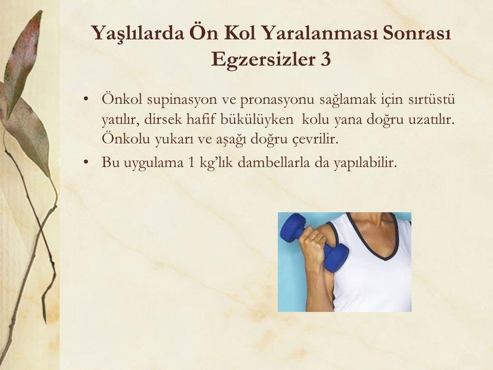 Yaşlılarda Ön Kol Yaralanması Sonrası Egzersizler 3 Önkol supinasyon ve pronasyonu sağlamak için sırtüstü yatılır, dirsek hafif bükülüyken kolu yana d
