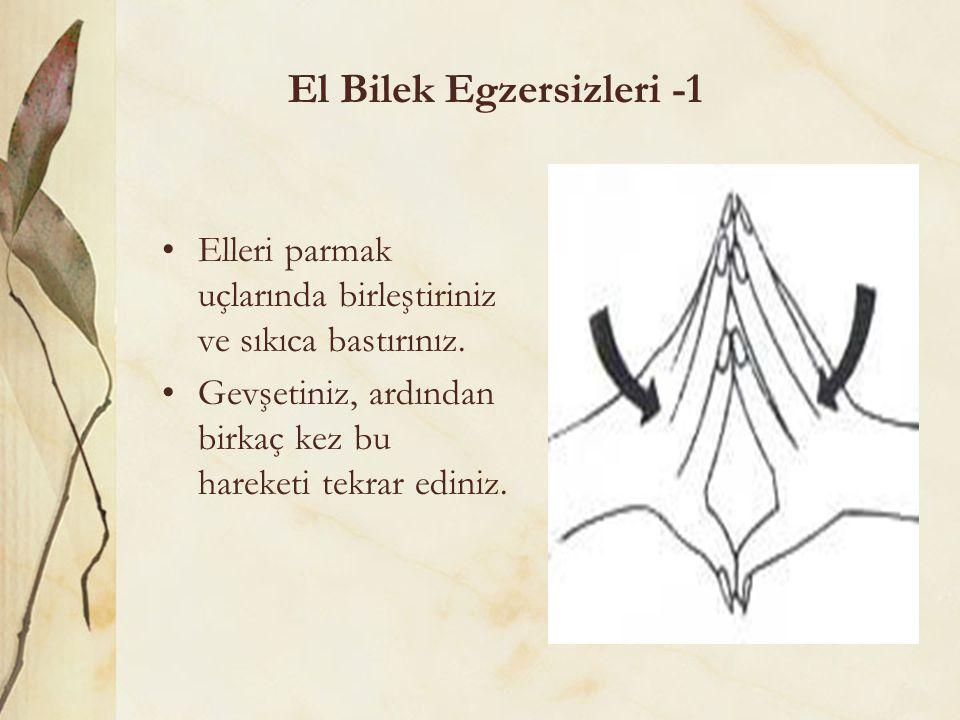 El Bilek Egzersizleri -1 Elleri parmak uçlarında birleştiriniz ve sıkıca bastırınız. Gevşetiniz, ardından birkaç kez bu hareketi tekrar ediniz.