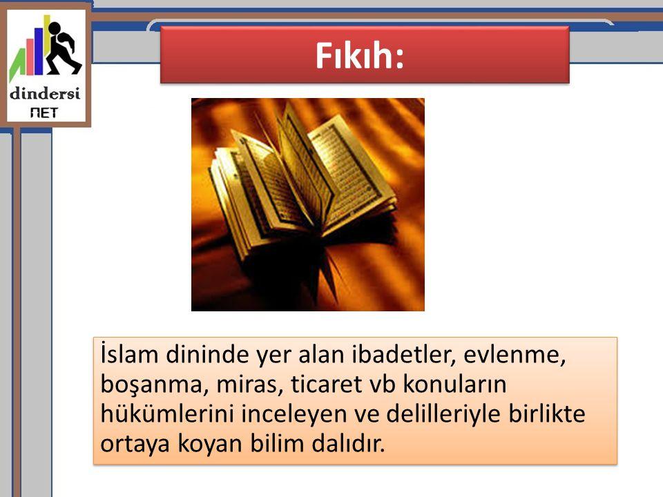 Fıkıh: İslam dininde yer alan ibadetler, evlenme, boşanma, miras, ticaret vb konuların hükümlerini inceleyen ve delilleriyle birlikte ortaya koyan bil