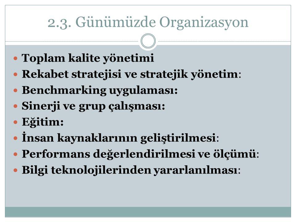 2.3. Günümüzde Organizasyon Toplam kalite yönetimi Rekabet stratejisi ve stratejik yönetim: Benchmarking uygulaması: Sinerji ve grup çalışması: Eğitim