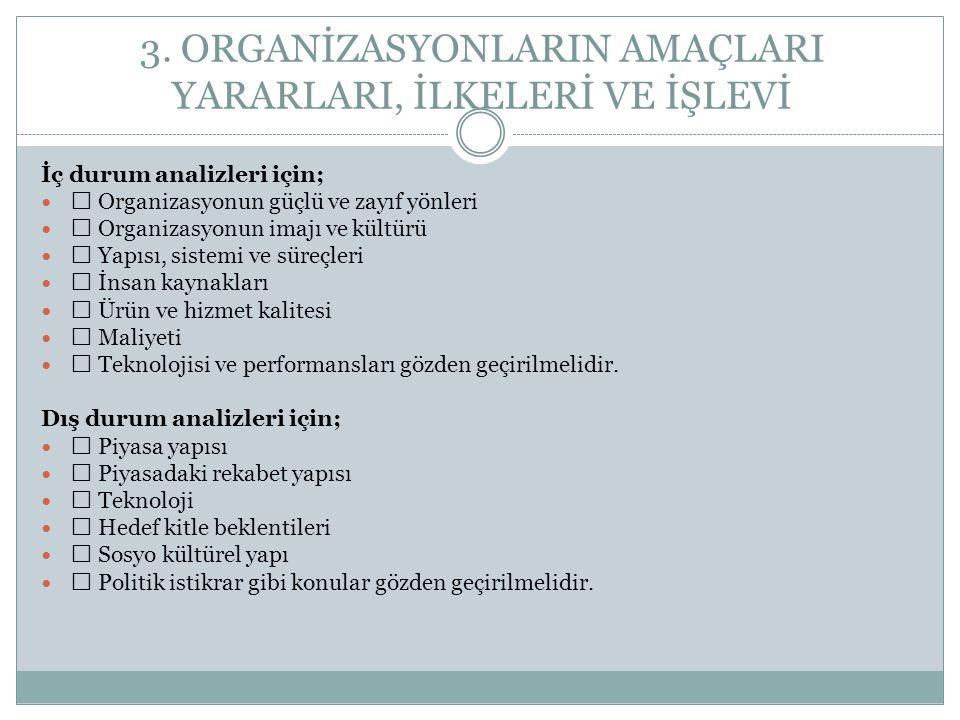 3. ORGANİZASYONLARIN AMAÇLARI YARARLARI, İLKELERİ VE İŞLEVİ İç durum analizleri için;  Organizasyonun güçlü ve zayıf yönleri  Organizasyonun imajı v