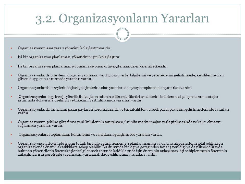 3.2. Organizasyonların Yararları Organizasyonun esas yararı yönetimi kolaylaştırmasıdır. İyi bir organizasyon planlaması, yöneticinin işini kolaylaştı