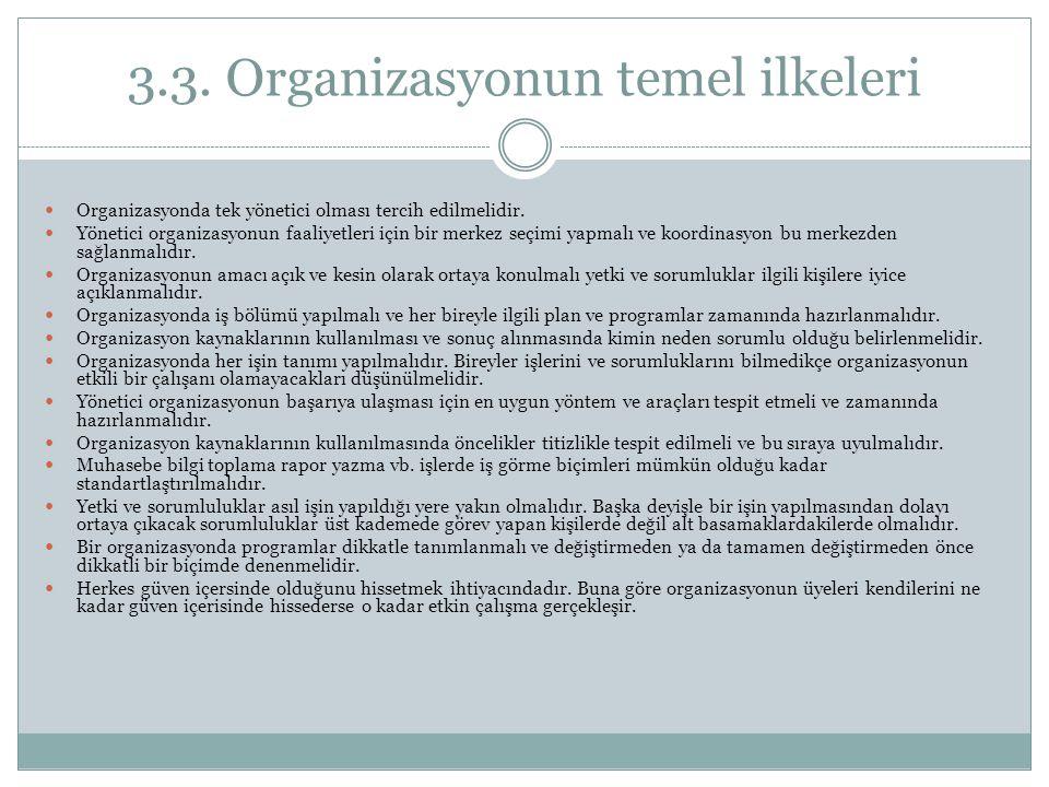 3.3. Organizasyonun temel ilkeleri Organizasyonda tek yönetici olması tercih edilmelidir. Yönetici organizasyonun faaliyetleri için bir merkez seçimi