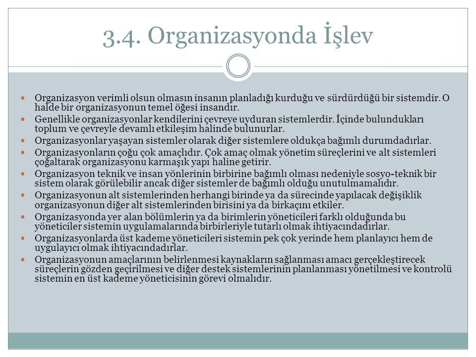 3.4. Organizasyonda İşlev Organizasyon verimli olsun olmasın insanın planladığı kurduğu ve sürdürdüğü bir sistemdir. O halde bir organizasyonun temel