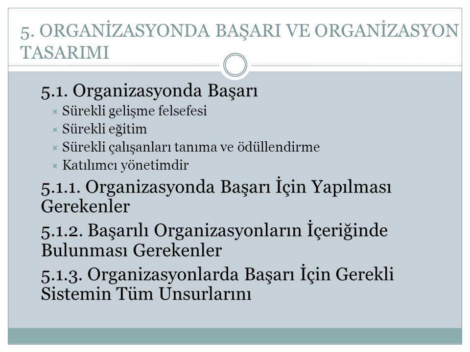 5. ORGANİZASYONDA BAŞARI VE ORGANİZASYON TASARIMI 5.1. Organizasyonda Başarı  Sürekli gelişme felsefesi  Sürekli eğitim  Sürekli çalışanları tanıma