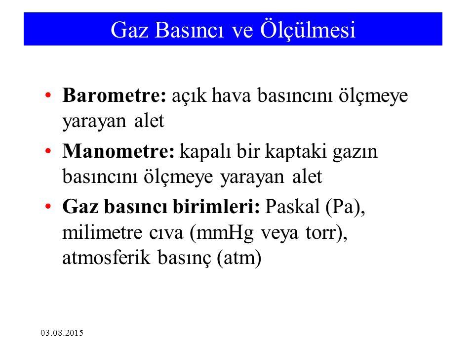 Gaz Basıncı ve Ölçülmesi Barometre: açık hava basıncını ölçmeye yarayan alet Manometre: kapalı bir kaptaki gazın basıncını ölçmeye yarayan alet Gaz basıncı birimleri: Paskal (Pa), milimetre cıva (mmHg veya torr), atmosferik basınç (atm) 03.08.2015