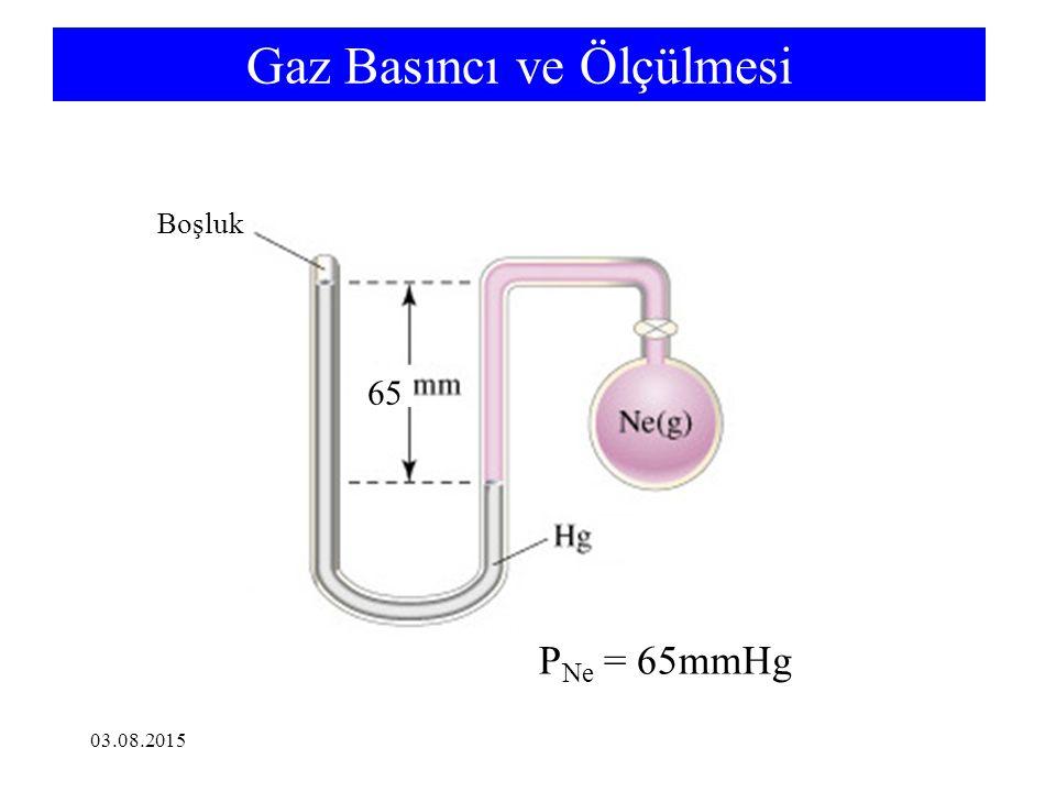 ÖRNEK Hidrojen Bromür gazının 733 mmHg basınç ve 46 o C sıcaklıkta yoğunluğunu hesaplayınız.