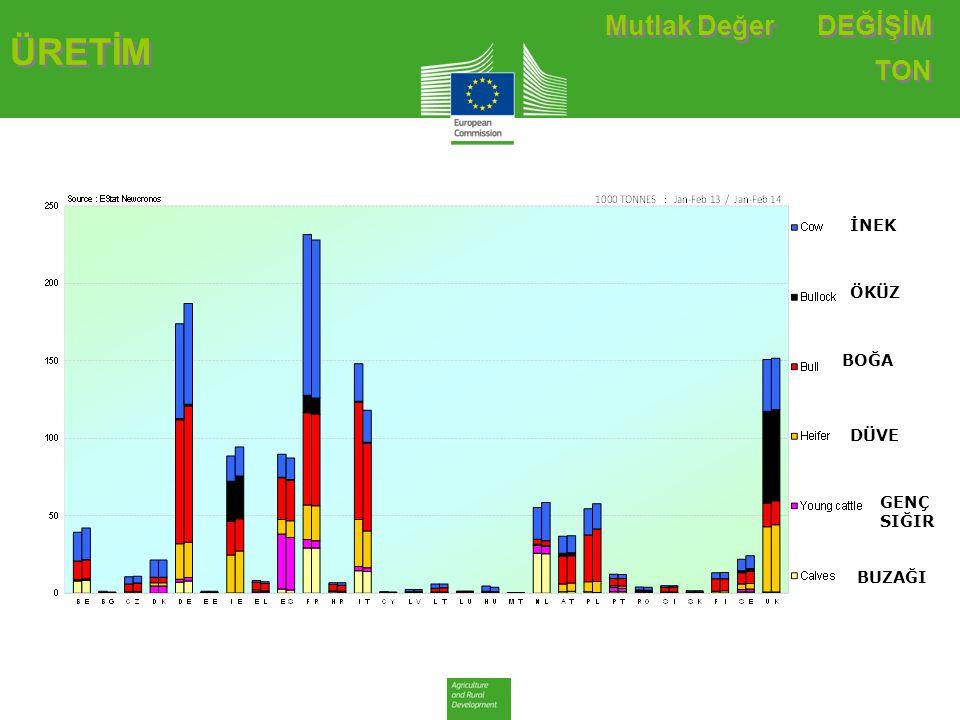 ÜRETİM TARİHSEL DEĞİŞİM TON Sığır & Dana Eti Üretimi(E28 Kesimleri)-Ton