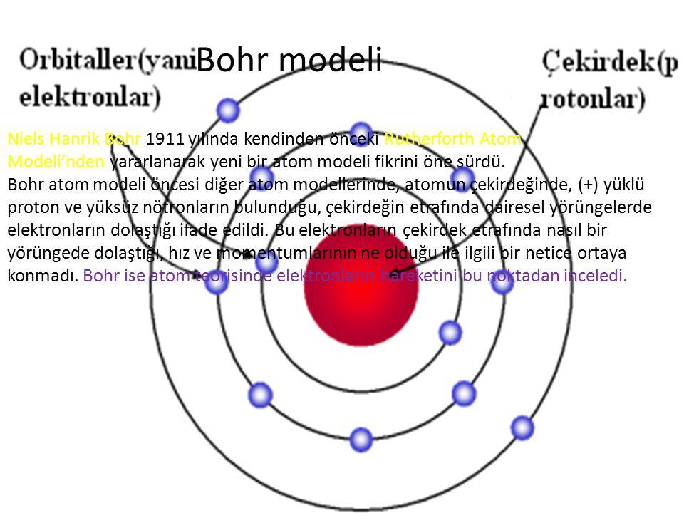 Bohr modeli Niels Hanrik Bohr 1911 yılında kendinden önceki Rutherforth Atom Modeli'nden yararlanarak yeni bir atom modeli fikrini öne sürdü. Bohr ato