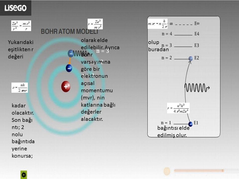 Yukarıdaki eşitlikten r değeri olarak elde edilebilir. Ayrıca Bohr varsayımına göre bir elektronun açısal momentumu (mvr), nin katlarına bağlı değerle
