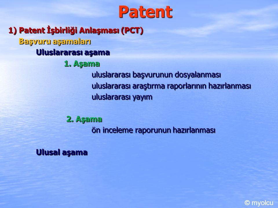 Patent 1) Patent İşbirliği Anlaşması (PCT) Başvuru aşamaları Uluslararası aşama 1. Aşama uluslararası başvurunun dosyalanması uluslararası araştırma r