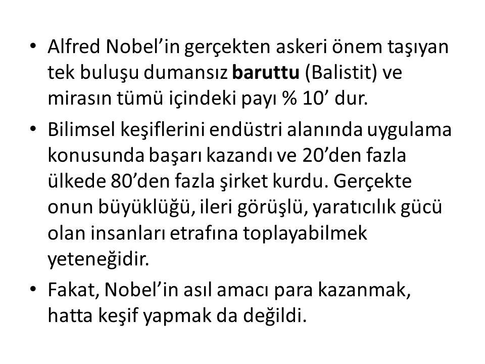 Alfred Nobel'in gerçekten askeri önem taşıyan tek buluşu dumansız baruttu (Balistit) ve mirasın tümü içindeki payı % 10' dur.