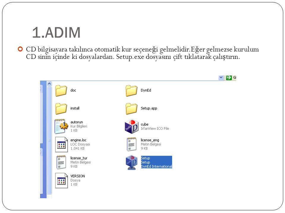 1.ADIM CD bilgisayara takılınca otomatik kur seçene ğ i gelmelidir.E ğ er gelmezse kurulum CD sinin içinde ki dosyalardan.