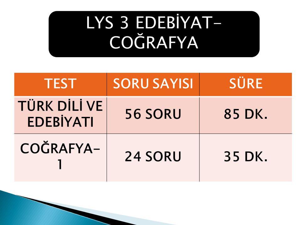 TESTSORU SAYISISÜRE TÜRK DİLİ VE EDEBİYATI 56 SORU85 DK.