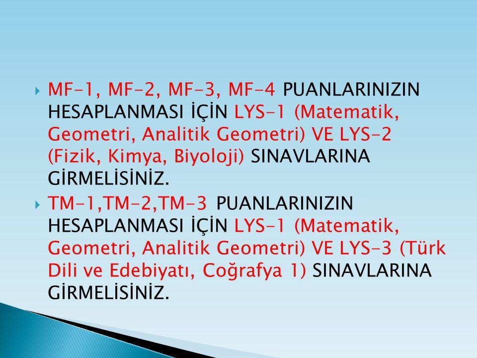  MF-1, MF-2, MF-3, MF-4 PUANLARINIZIN HESAPLANMASI İÇİN LYS-1 (Matematik, Geometri, Analitik Geometri) VE LYS-2 (Fizik, Kimya, Biyoloji) SINAVLARINA GİRMELİSİNİZ.