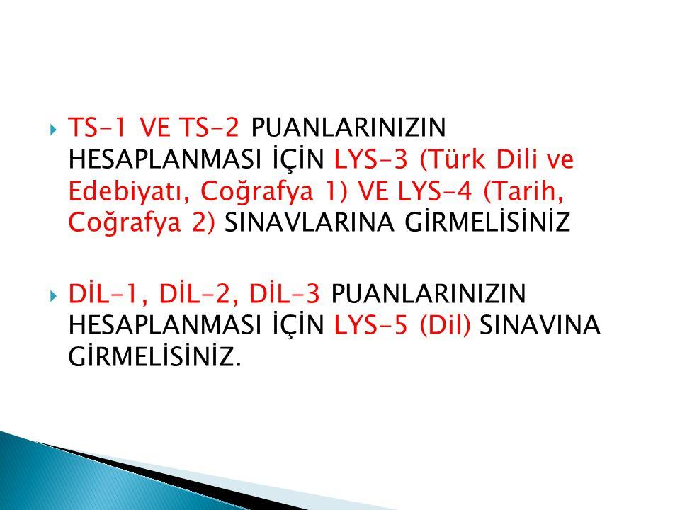  TS-1 VE TS-2 PUANLARINIZIN HESAPLANMASI İÇİN LYS-3 (Türk Dili ve Edebiyatı, Coğrafya 1) VE LYS-4 (Tarih, Coğrafya 2) SINAVLARINA GİRMELİSİNİZ  DİL-1, DİL-2, DİL-3 PUANLARINIZIN HESAPLANMASI İÇİN LYS-5 (Dil) SINAVINA GİRMELİSİNİZ.